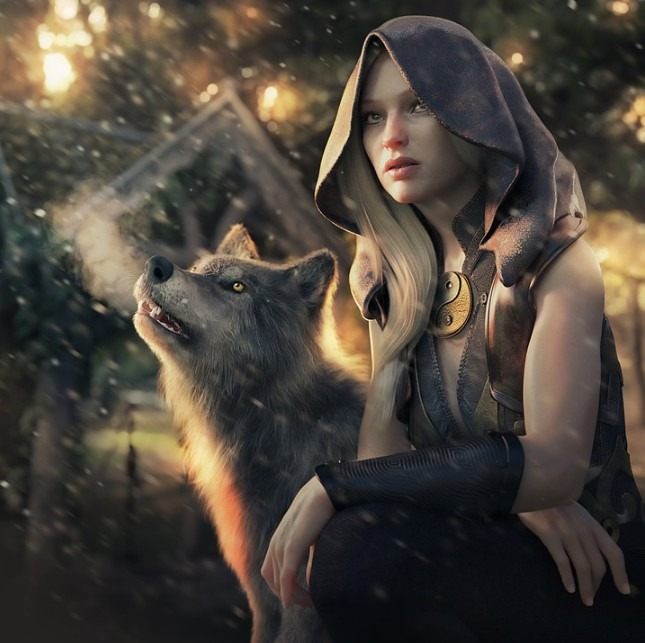 A CGI rendered girl and dog