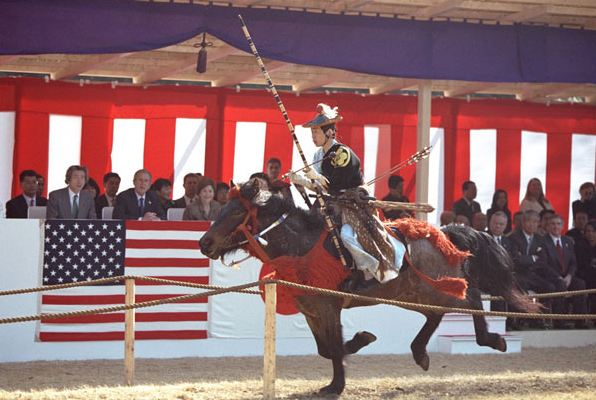 Yabusame match demonstrated in front of former US president George W. Bush